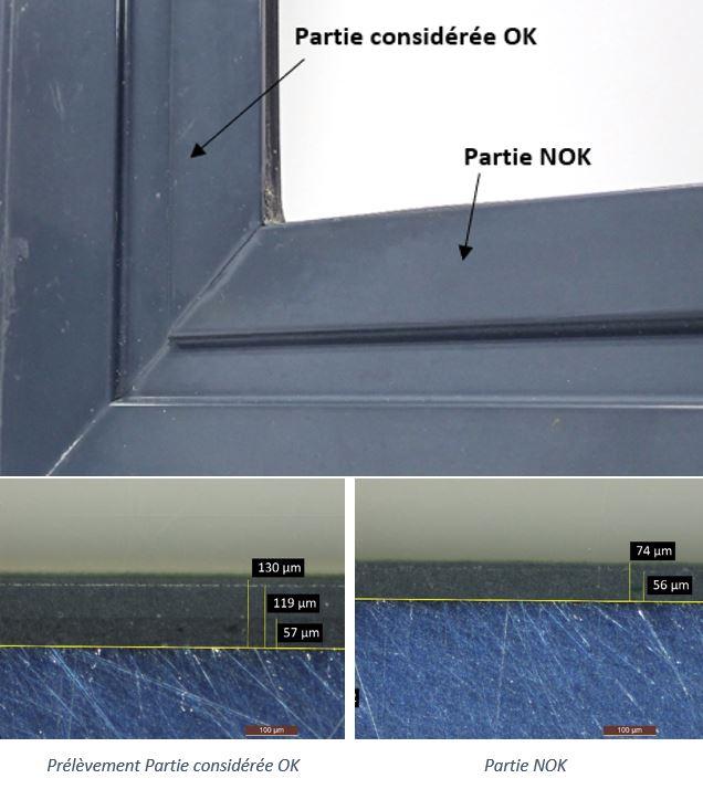 peinture ternissement Profilés aluminium thermolaqués