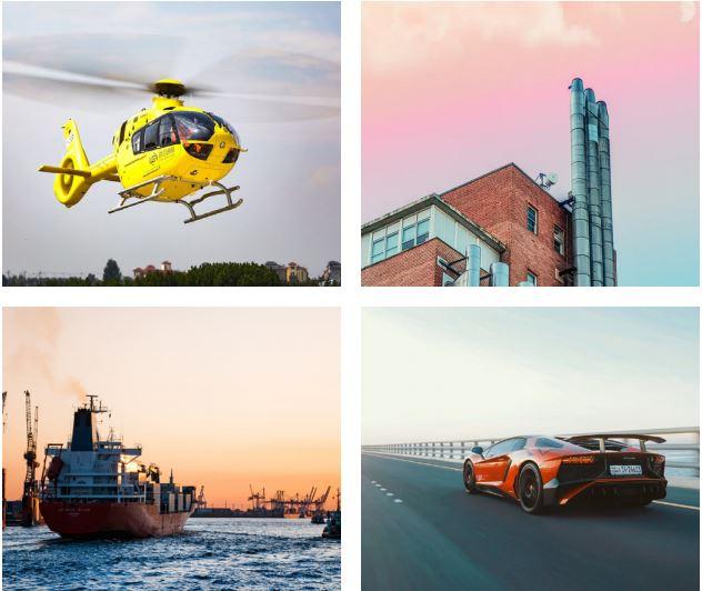 industrie hélicoptère usine automobile maritime